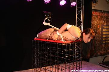 Yvette Costeau – Tightly hogtied live on stage (Pictures)