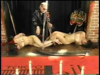 Asian Bondage Show - Two Asian Girls Hanged Inverted by Master