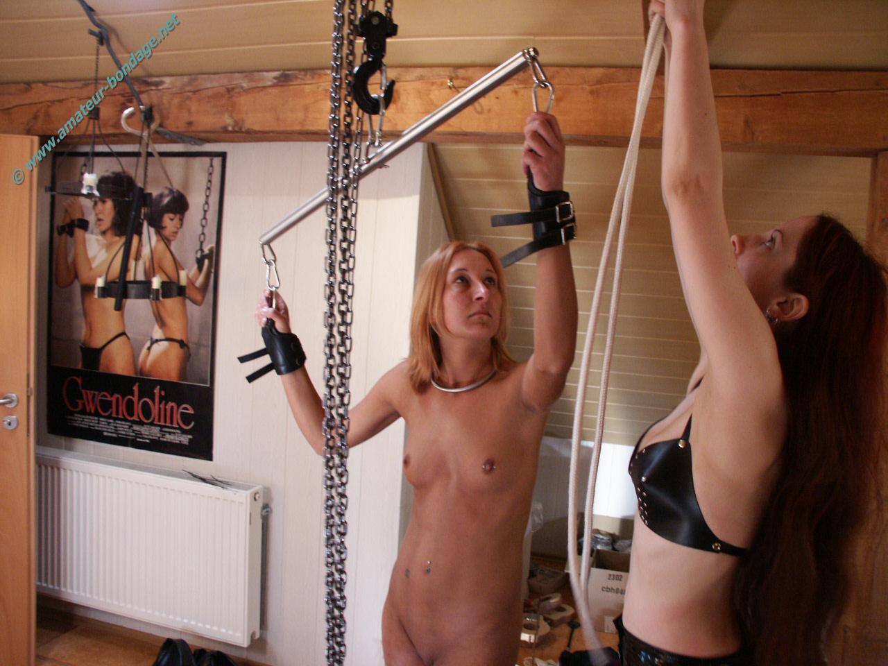 Amateur bondage of suspended lexy tied up in creative rope rigging 4