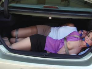 trunk car girl Bondaged a in